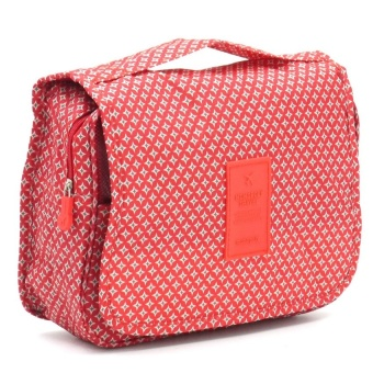 Travel Toiletry Make Up Cosmetic Bags (Star Red) with Free DigitalGadget Devices Cable Pouch (COLOR MAY VARY)