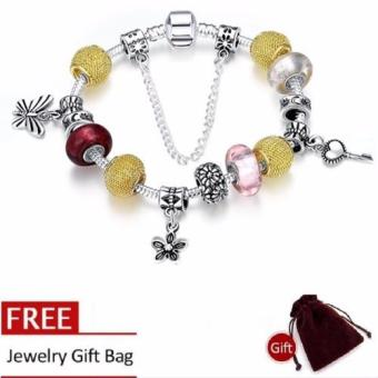Treasure by B&D H005-C Silver Plated Snake Chain Bracelet With Gold Plated & Colored Glass Stones