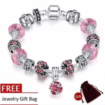 Treasure by B&D H009-C Elegant Pink Glass Stones Bracelet (Silver Plated)