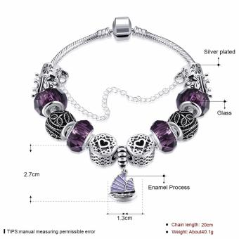 Treasure by B&D H057 Yifan Style Pendant with Purple Charm Bracelet for Women (Silver Plated) - 3