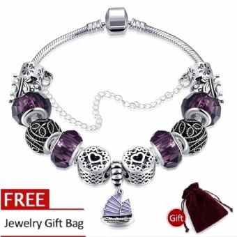Treasure by B&D H057 Yifan Style Pendant with Purple Charm Bracelet for Women (Silver Plated)