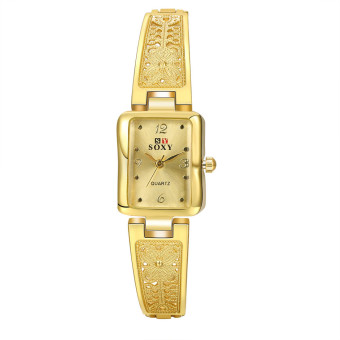 Treasure by B&D WH10014J European Style Square Face Quartz Fashion Business Women Watch (Gold Plated)