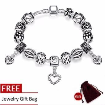 Treasure by B&D H023 Retro Geometry Shape Beads Snake Chain Bracelet (Silver Plated)