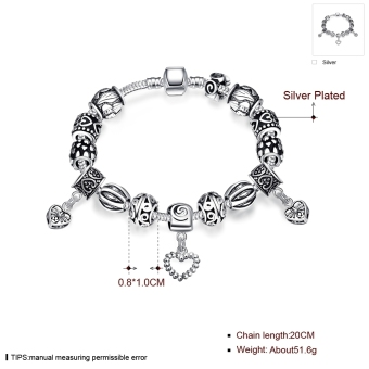 Treasure by B&D H023 Retro Geometry Shape Beads Snake Chain Bracelet (Silver Plated) - picture 2