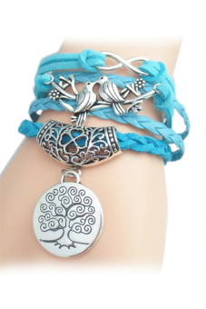 Tree Pattern Weaved Friendship Bracelet (Blue) (Intl)