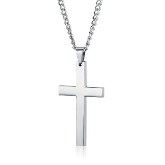 Trendy Simple Silver Cross Solid 925 Sterling Silver Pendant forMen/Women - intl