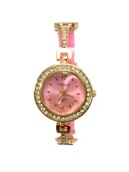 Trendy Women's Paris Silicone/Stainless Strap Watch (Pink)