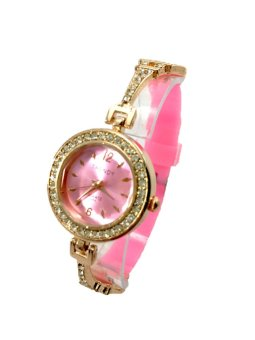 Trendy Women's Paris Silicone/Stainless Strap Watch (Pink) - picture 2