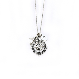 Trinkets for Keeps - Compass Necklace, Journey Necklace, CharmNecklace, Airplane Necklace