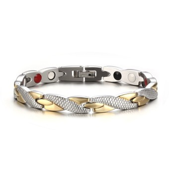 Twisted Health Bracelet Bangles 316L Stainless Steel Casual JewelryH Power for Women Men - intl