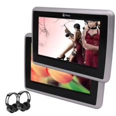 Two Black DVD Player 9 Inch HD Touch Screen 1024x600 Car Headrest Monitor EinCar Backseat Monitor