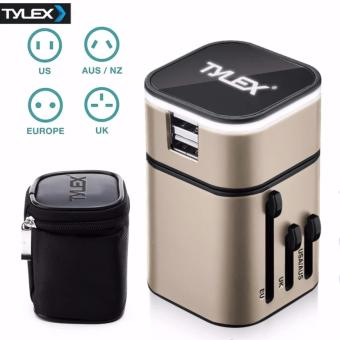 Tylex 2 USB Port All in One Universal International Plug Adapter World Travel AC Power Charger Adaptor AU, US, UK & EU Plug (Gold)