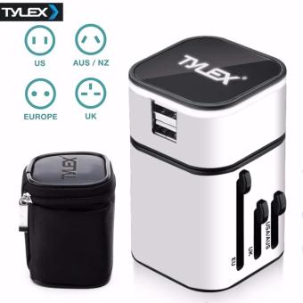 Tylex 2 USB Port All in One Universal International Plug Adapter World Travel AC Power Charger Adaptor AU, US, UK & EU Plug (White)