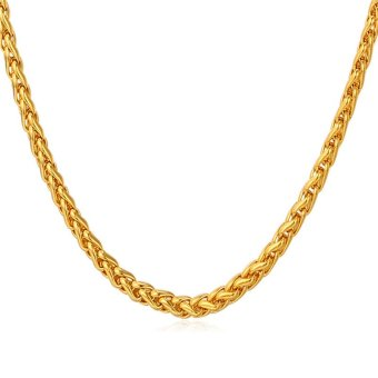 U7 Fashion Chain Necklace For Men/Women 18K Real Gold Plated Gold Jewelry Accessories (Gold)