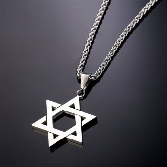 U7 Jewish Jewelry Magen Star of David Pendant Necklace Women MenChain Stainless Steel Israel Necklace Gift (White) - 4