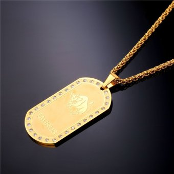 U7 Taurus Zodiac 18K Real Gold Plated Unisex Jewelry TwelveConstellation Crystal Pendant Necklace (Gold) - INTL - 3