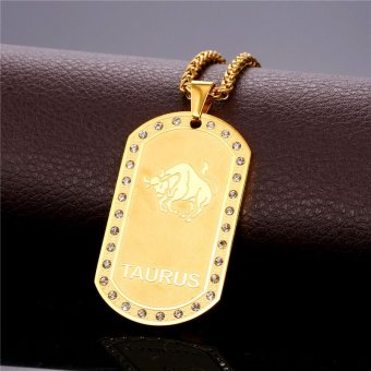 U7 Taurus Zodiac 18K Real Gold Plated Unisex Jewelry TwelveConstellation Crystal Pendant Necklace (Gold) - INTL - 2