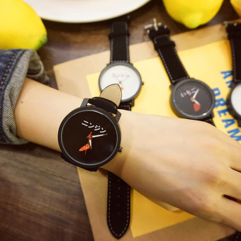 Ulzzang cute leather black and white students watch