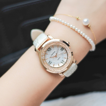 Ulzzang Korean-style crystal waterproof women's leather belt quartz watch