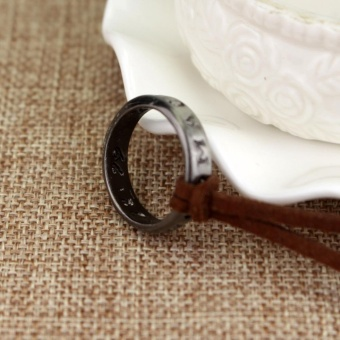 Uncharted 4 Drake's Vintage Band Ring Leather Code Pendant Necklace - intl - 5