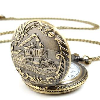 Unisex Antique Case Vintage Brass Rib Chain Quartz Pocket WatchTrain