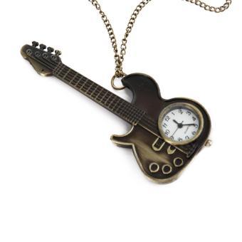 Unisex Bronze Guitar Style Quartz Pocket Watch Necklace for Male Female - 4