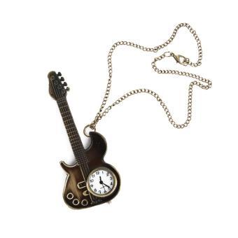 Unisex Bronze Guitar Style Quartz Pocket Watch Necklace for Male Female - 3