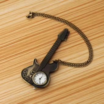 Unisex Bronze Guitar Style Quartz Pocket Watch Necklace for Male Female - 2