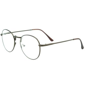 Unisex Eye Round Circle Thin Metal Frame Clear Lens Plain Decorative Glasses Frame Eyeglasses Coffee