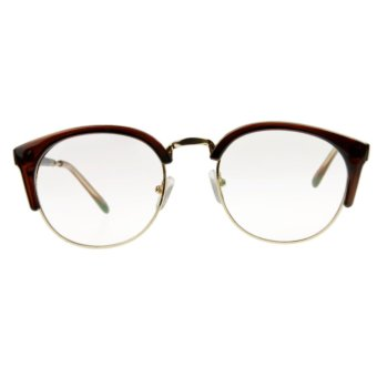 Unisex Glasses, Plain Glasses Eyeglasses Women Men Sexy Cat EyeHalf Frame Reading Glasses Spectacles Computer TV RadiationProtection Glasses Greek Clear Lens Glasses with Free Case DarkBrown - intl