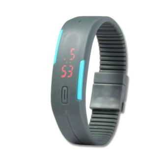 Unisex Grey LED Silicone Rubber Strap Digital Bracelet Wrist Watch