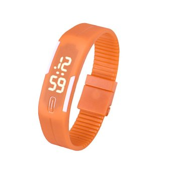 Unisex Orange Rubber Bracelet LED Digital Wrist Watch