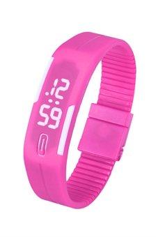 Unisex Pink Rubber Strap Watch