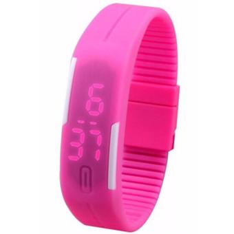 Unisex Pink Silicone Strap LED Watch