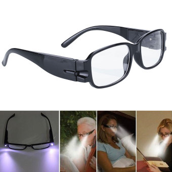 Unisex Rimmed Reading Glasses Eyeglasses With LED Light Black Portable - Intl Price Philippines