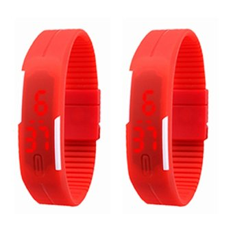 Unisex Rubber Strap LED Digital Wrist Watch (Red) Set of 2