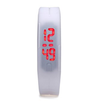 Unisex White Rubber Bracelet LED Digital Wrist Watch