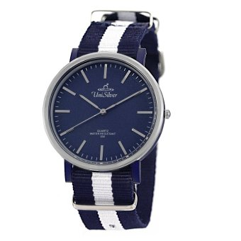 UniSilver TIME Array Unisex Navy Blue - Navy Blue / White Analog Nylon Strap Watch KW2159-1129