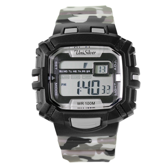 UniSilver TIME Batallion Men's Black / Gray Camouflage Rubber Watch KW2029-2001