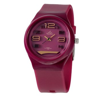 UniSilver TIME Citrix FLXY Round Unisex Red Violet / Gold / Black Analog Rubber Watch KW2316-2007