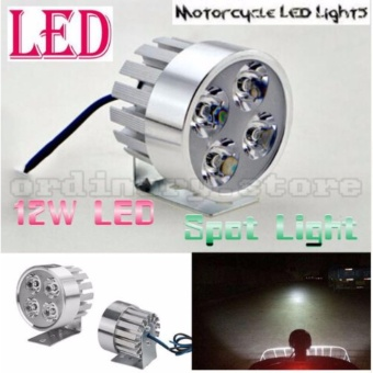 Universal 12W 4 LED Headlight Work Head Light Driving Fog SpotNight Lamp for Motor Bike Motorcycle(SILVER COVER)