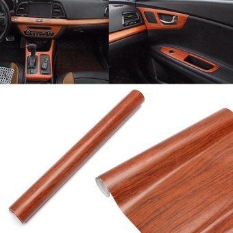 Universal 30cm X 120cm Car Brown Wood Textured Grain Vinyl Wrap Sticker Decal Vinyl PVC - intl