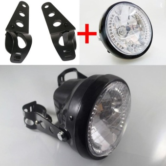 Universal 7 inch Motorcycle ATV Headlight Front Light LED Cornering Lamp with Mounting Brackets Color:Black - intl