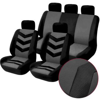 Universal Car Seat Cover Set 9Pcs Seat Covers Front Seat Back SeatHeadrest Cover Mesh Black and Gray