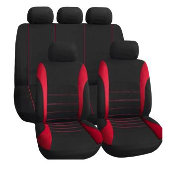 Universal Car Seat Cover Set 9Pcs Seat Covers Front Seat Back SeatHeadrest Cover(RED) Price in Philippines