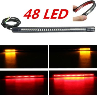 Universal Motorcycle Rear Tail Brake Stop Turn Signal 48 LED SMD Light Strip - intl