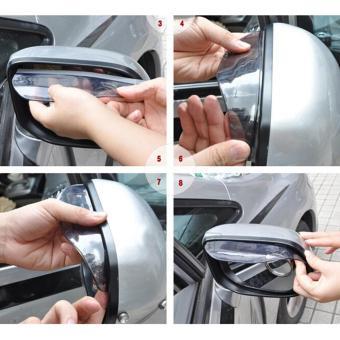 Universal Rear View Side Mirror Rain Eyebrow Board Sun Visor Shade Shield For Car Truck White AU019 - intl - 4
