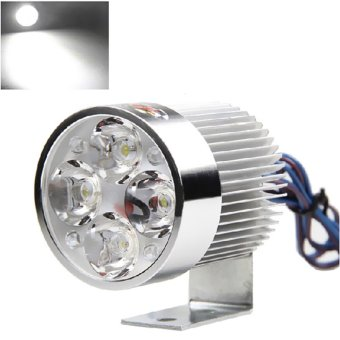 Universal Silver Electric Motor Bike Motorcycle 12W 4 LED HeadlightWork Head Light Driving Fog Spot Night Lamp
