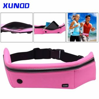 Universal XUNDD Running Jogging Gym Waterproof Waist Sports Bag Pocket Case Band (Pink)