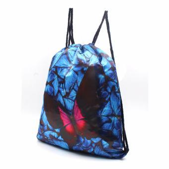 Urban Hikers Waterproof Summer Travel Drawstring Backpack (BlueButterfly) - 2